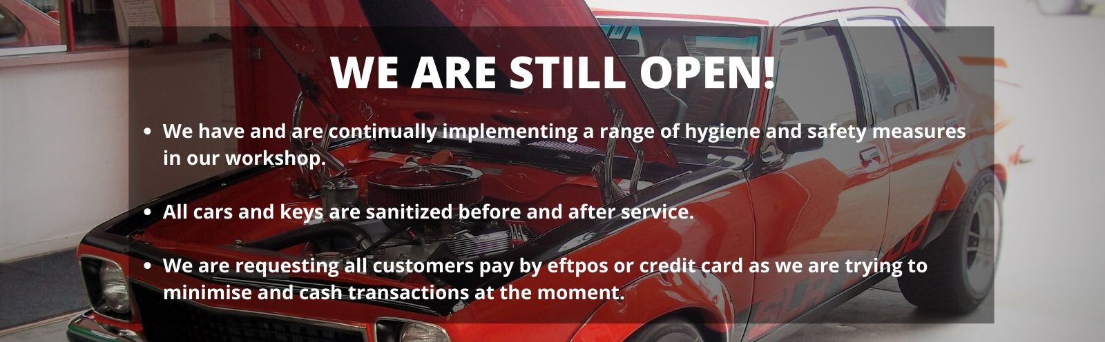 We are still open for car service